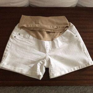 White denim maternity shorts
